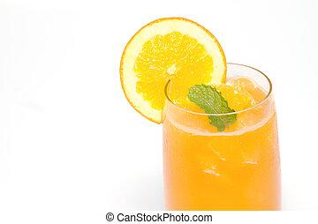 orange juice and orange slice in cocktail glass