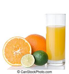 orange juice and orange with lime isolated on white