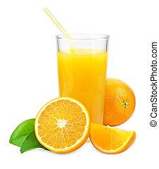 Orange juice and oranges with leaves