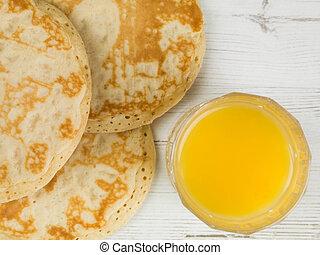 Orange Juice and Pancakes Breakfast