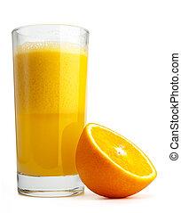 Orange juice and slices isolated on white