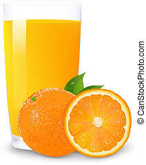 Orange Juice And Slices Of Orange, Isolated On White Background, Vector Illustration