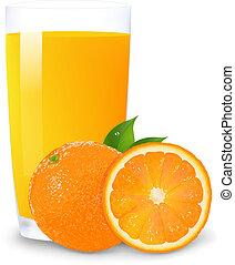 Orange Juice And Slices Of Orange, Isolated On White...