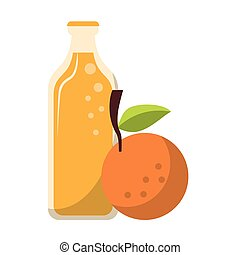 Orange juice bottle and fruit cartoon