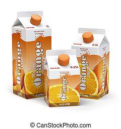 Orange juice carton cardboard box pack isolated on white background.