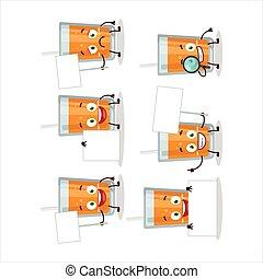 Orange juice cartoon character bring information board