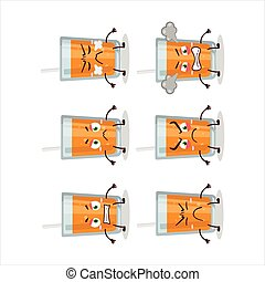 Orange juice cartoon character with various angry expressions