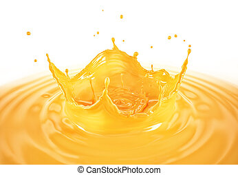 Orange juice crown splash with ripples. On white background.