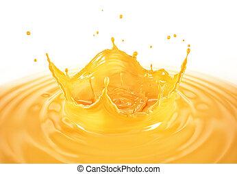 Orange juice crown splash with ripples. On white background.