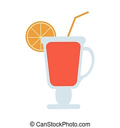 Orange juice cup with straw
