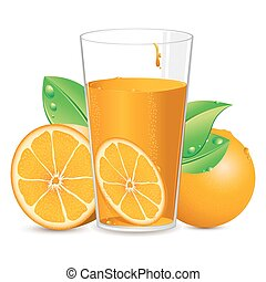 Orange Juice - illustration of orange with juice on white...