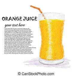 orange juice - closeup illustration of a fresh glass of...