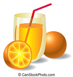 orange juice - vector image of fresh orange juice with two...