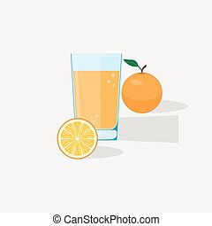 Orange Juice - Orange juice flat illustration. Half and...