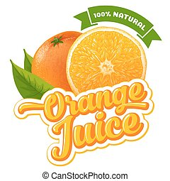 Orange juice - Natural orange juice label design template....