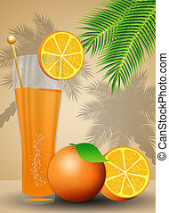 Orange juice for summertime - illustration of Orange juice...