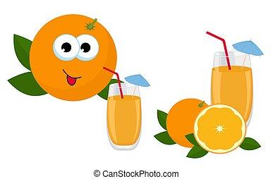 Orange Juice. Glass of orange juice with whole orange and slice of orange fruit. Vector Illustration of an Orange Character Drinking Juice on white background