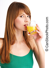 orange juice II - beautiful woman drinks orange juice