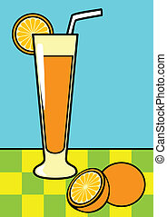 Orange Juice - Line art illustration of a glass of orange...