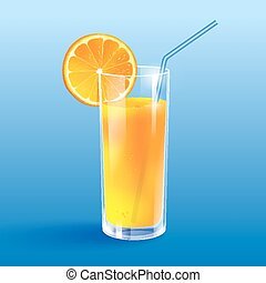 Orange juice. - Vector illustration of a glass of orange...