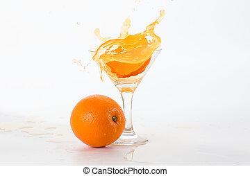 orange juice in a glass held up spray