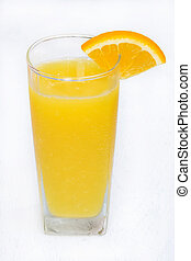 Orange juice in a glass isolated on white wooden background
