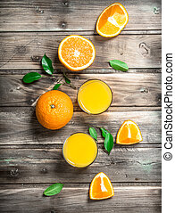 Orange juice in a glass.