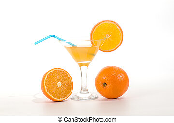 Orange juice in a glass with a straw to drink