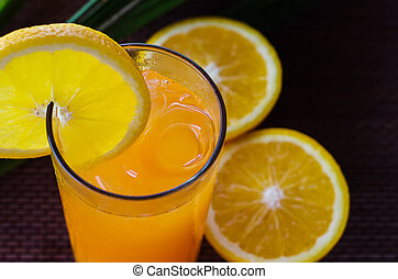 Orange juice in a glass with ice