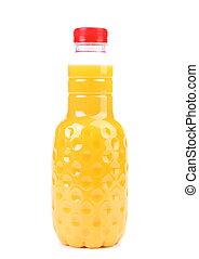 Orange juice in bottle.