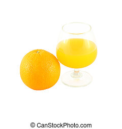 Orange juice in brandy glass and fruit on white background.