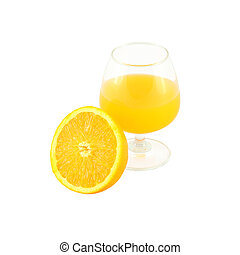 Orange juice in brandy glass and half fruit on white background.
