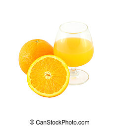 Orange juice in brandy glass and one half fruit on white background.
