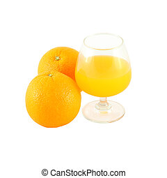 Orange juice in brandy glass and two fruit on white background.