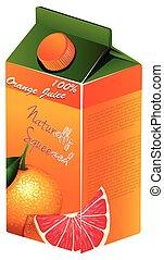 Orange juice in carton box