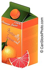 Orange juice in carton box