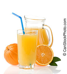 orange juice in glass and slices on white
