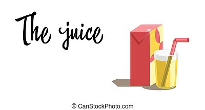 Orange juice in glass. Carton box. Vector. Flat design style