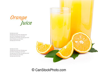Orange juice in glass jar & text