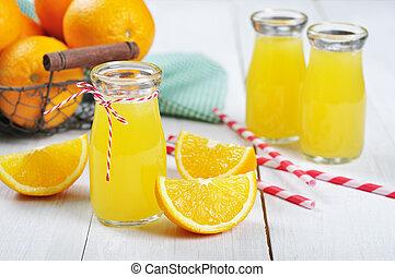 Orange juice in glass jars