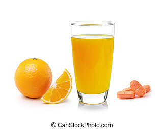 Orange juice in glass, Orange fruit with vitamin c tablet on whi