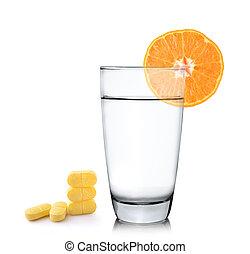 Orange juice in glass, Orange fruit with vitamin c tablet on whi