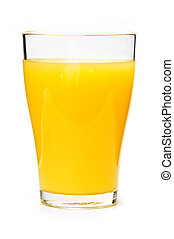 Orange juice in glass - Orange juice in clear glass isolated...