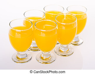 Orange juice in jar. on white background