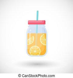 Orange juice in mason jar vector flat icon, Flat design of ...