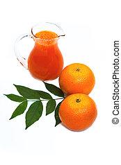 Orange juice in pitcher and oranges