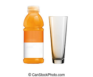 Orange juice in plastic bottle and glass on white background