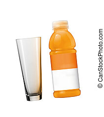Orange juice in plastic bottle and glass