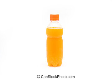 orange juice in plastic bottle for drink