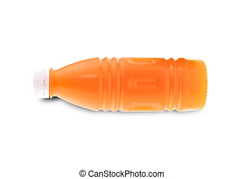 Orange juice in plastic bottle isolated on white background.